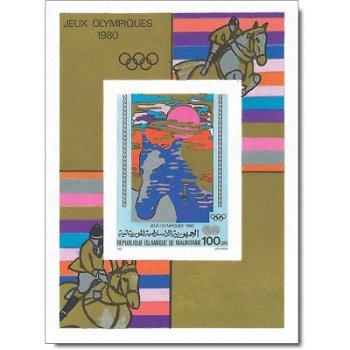 """Olympische Sommerspiele 1980, Moskau """"Aufdruck"""" - Briefmarken-Block ungezähnt postfrisch,"""