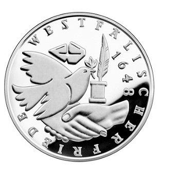 """10-DM-Silbermünze """"350 Jahre Westfälischer Friede"""", Stempelglanz"""