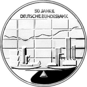 50 years of the Deutsche Bundesbank, 10 euro silver coin 2007, proof