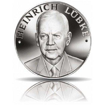 Die deutschen Bundespräsidenten: Heinrich Lübke, Feinsilbermedaille