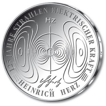 125 years of Heinrich Hertz, 10 Euro silver coin 2013, Proof