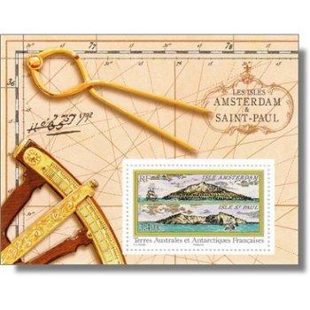 Historische Ansichten der Inseln Amsterdam und St. Paul - Briefmarken-Block postfrisch, Katalog-Nr.