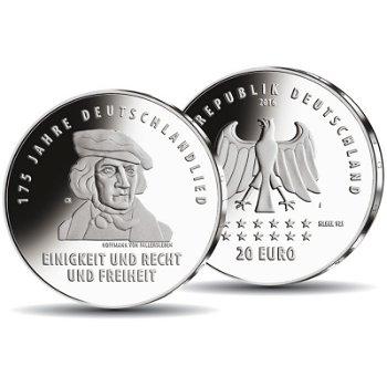 175 Jahre Deutschlandlied, 20 Euro Silbermünze Polierte Platte, Deutschland