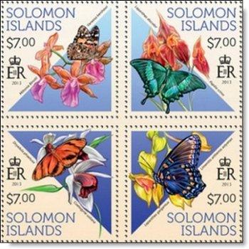 Schmetterlinge und Orchideen - 4 Briefmarken postfrisch, Salomon-Inseln