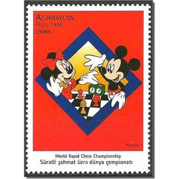 """70 Jahre Walt-Disney-Figur Micky Maus """"Blitzschach-Weltmeisterschaft"""" - Briefmarke postfri"""