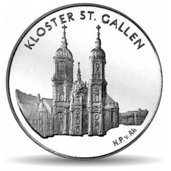 Kloster St. Gallen, 20 Franken Münze 2002 Schweiz, Polierte Platte