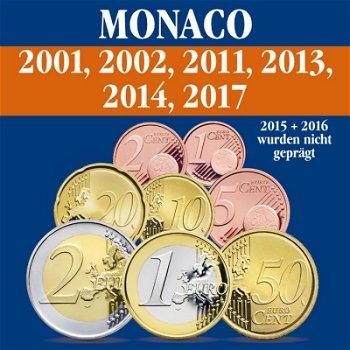 Monaco – Kursmünzensatz alle Jahrgänge 2001, 2002, 2011, 2013, 2014 und 2017