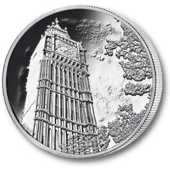 Der Big Ben, 100 Pfund Silbermünze, Großbritannien