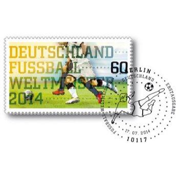 Deutschland Fußball-Weltmeister 2014 - Briefmarke gestempelt, Bund