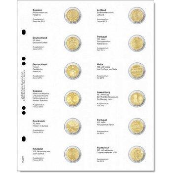 Lindner Vordruckblatt für 2 Euro-Gedenkmünzen: Spanien Dezember 2014 - Frankreich Juli 2015, LI MU2E