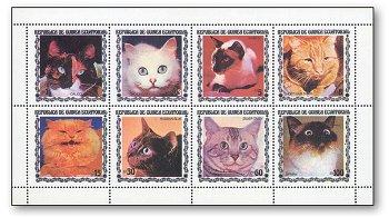 Die Katzen-Parade - Kleinbogen postfrisch, Äquatorialguinea