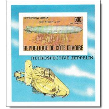 Luftschiffe - Briefmarken-Block ungezähnt postfrisch, Katalog-Nr. 522 Bl. 8 B, Elfenbeinküste