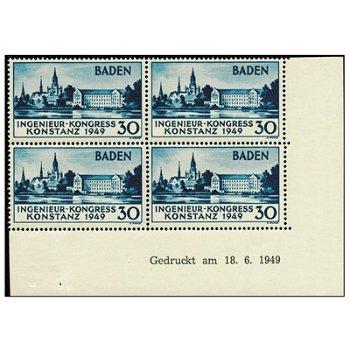 """Europäischer Ingenieur-Kongress """"Druckdatum"""" - Briefmarken-Viererblock vom rechten Bogenra"""