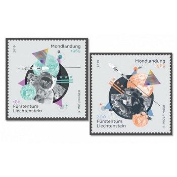 Weltraum: 50 Jahre Apollo 11 / Mondlandung - 2 Briefmarken postfrisch, Liechtenstein