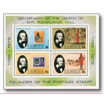 100. Todestag Sir Rowland Hill - Briefmarken-Block postfrisch, Sambia