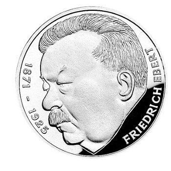 """5-DM-Silbermünze """"50. Todestag Friedrich Ebert"""", Stempelglanz"""