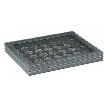Nera Münzkassette M mit Sichtfenster für 2 Euro Münzen gekapselt, Münzeinlage schwarz, Lindner 2367-