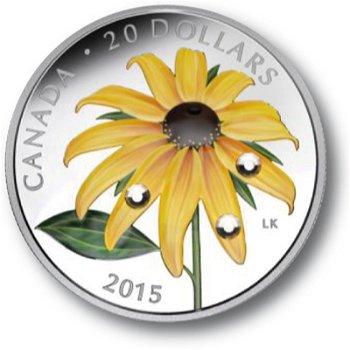 Gelber Sonnenhut, Silbermünze mit Farbauflage und Swarovski-Kristallen, Canada