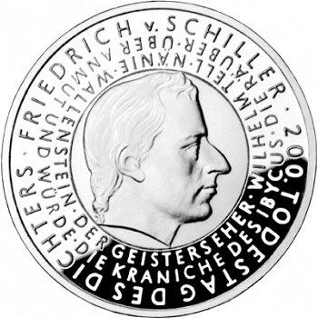 200. Todestag Friedrich von Schiller, 10-Euro-Silbermünze 2005, Polierte Platte