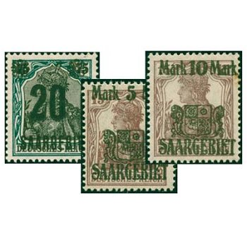 Saar area - 3 postage stamps mint never hinged, catalog no. 50-52, Saar area