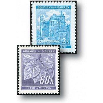 Neue Werte - neue Zeichnungen - 8 Briefmarken postfrisch, Katalog-Nr. 65 - 72b, Böhmen und Mähren
