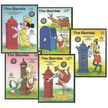 Disney: Postkästen - 5 Briefmarken postfrisch, Kat.Nr. 650-54, Gambia