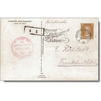 Southwest Germany voyage of the LZ 127 in 1929, Zeppelin mail dropping off Baden-Baden, photo card