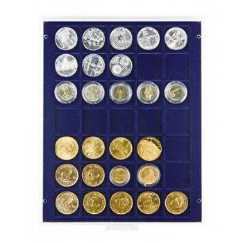 LINDNER Münzenbox, quadratische Vertiefungen 36mm, LI 2135, Marine