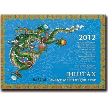 Jahr des Drachen - Briefmarken-Block postfrisch, Bhutan