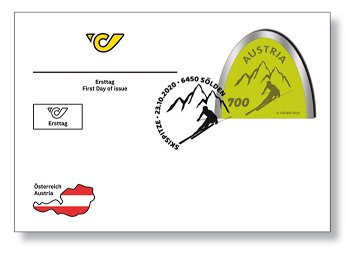 Die alpine Skispitzen-Briefmarke - Ersttagsbrief, Österreich