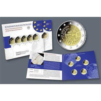 2-Euro-Münzen 2015, 25 Jahre Deutsche Einheit, 5 Prägezeichen Polierte Platte, Deutschland