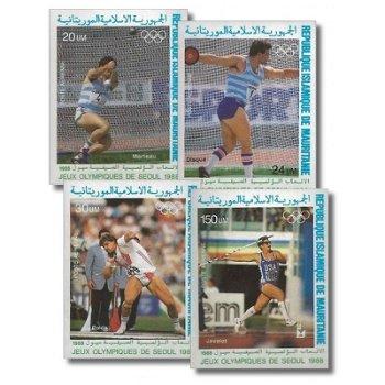 Olympische Sommerspiele 1988, Seoul - 4 Briefmarken ungezähnt postfrisch, Katalog-Nr. 926-929, Maure