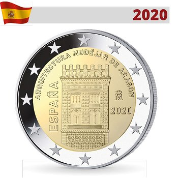 Mudejar-Architektur in Aragon - UNESCO Welterbe, 2 Euro Münze 2020, Spanien