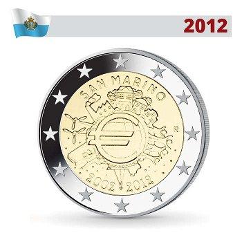 10 Jahre Euro - Gemeinschaftsausgabe, 2 Euro Münze 2012, San Marino
