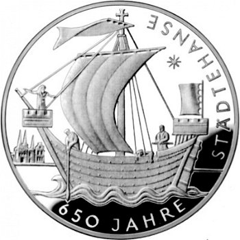650 Jahre Städtehanse, 10-Euro-Silbermünze 2006, Polierte Platte