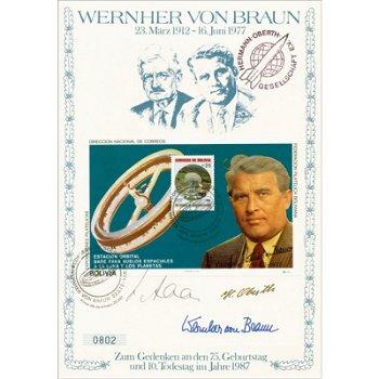 Wernher von Braun - Gedenkblatt mit Original-Unterschriften