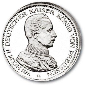 3 Mark Silbermünze, Kaiser in Uniform, Katalog-Nr. 113, Königreich Preußen