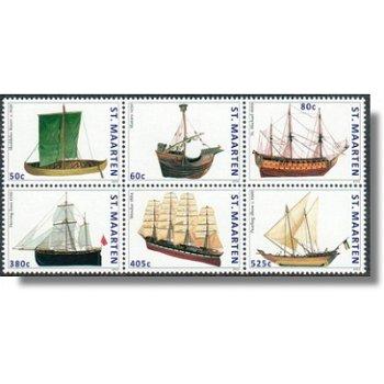 Schiffe - 6 zusammenhängend gedruckte Briefmarken postfrisch, Sint Maarten