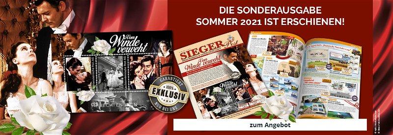 Siegerpost Sommer 2021, Briefmarken, Münzen