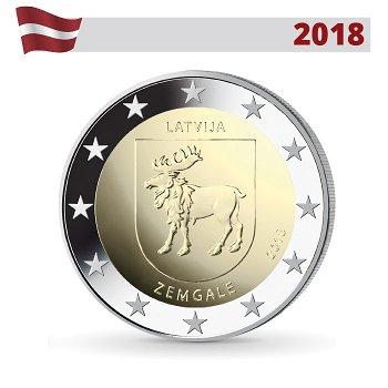 Regionen Lettlands: Semgallen, 2 Euro Münze 2018, Lettland