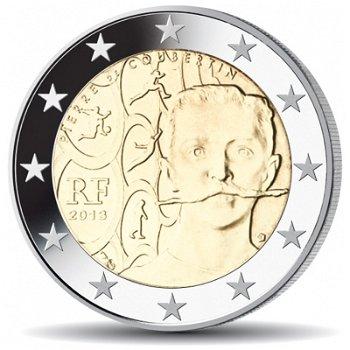 150. Geburtstag Pierre de Coubertin, 2 Euro Münze 2013, Frankreich