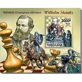"""Weltmeister im Schach """"Wilhelm Steinitz"""" - Briefmarken-Block postfrisch, Togo"""