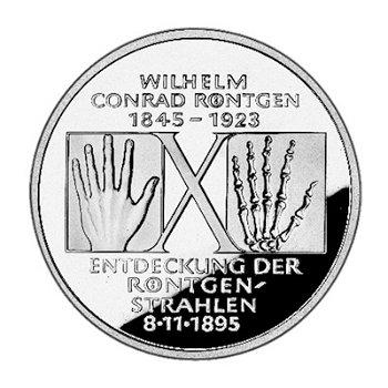 """10-DM-Silbermünze """"150. Geburtstag Wilhelm Conrad Röntgen"""", Polierte Platte"""