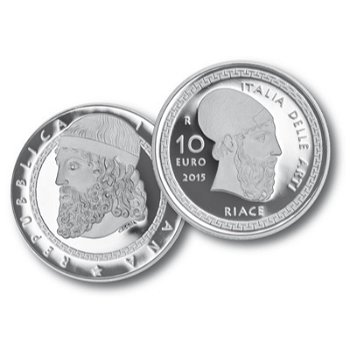 Bronzestatuen von Riace, 10 Euro Silbermünze, Italien