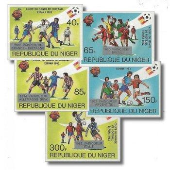 """Gewinner der Fußballweltmeisterschaft """"Aufdruck""""- 5 Briefmarken ungezähnt postfrisch, Kata"""