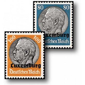 Hindenburg Medaillon - 16 Freimarken postfrisch, Katalog-Nr. 1-16, Deutsche Besetzung Luxemburg