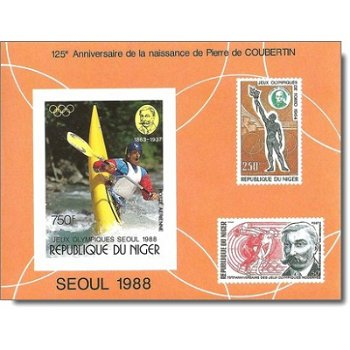 """Olympische Sommerspiele 1988, Seoul """"125. Geb. von Baron Pierre de Coubertin"""" - Briefmarke"""