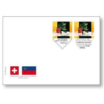 Nachbarschaftliche Gemeinschaftsausgabe: Frucht - Ersttagsbrief, Fürstentum Liechtenstein/Schweiz