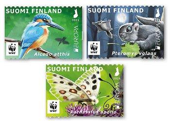 Europa 2021: Gefährdete nationale Tierwelt - 3 Briefmarken postfrisch, Finnland
