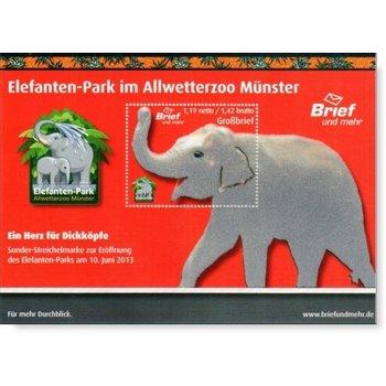 Elefanten-Park im Allwetterzoo Münster - Briefmarken-Block postfrisch, Deutschland